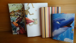 紙袋やカレンダーで作ったブックカバー<裏側>