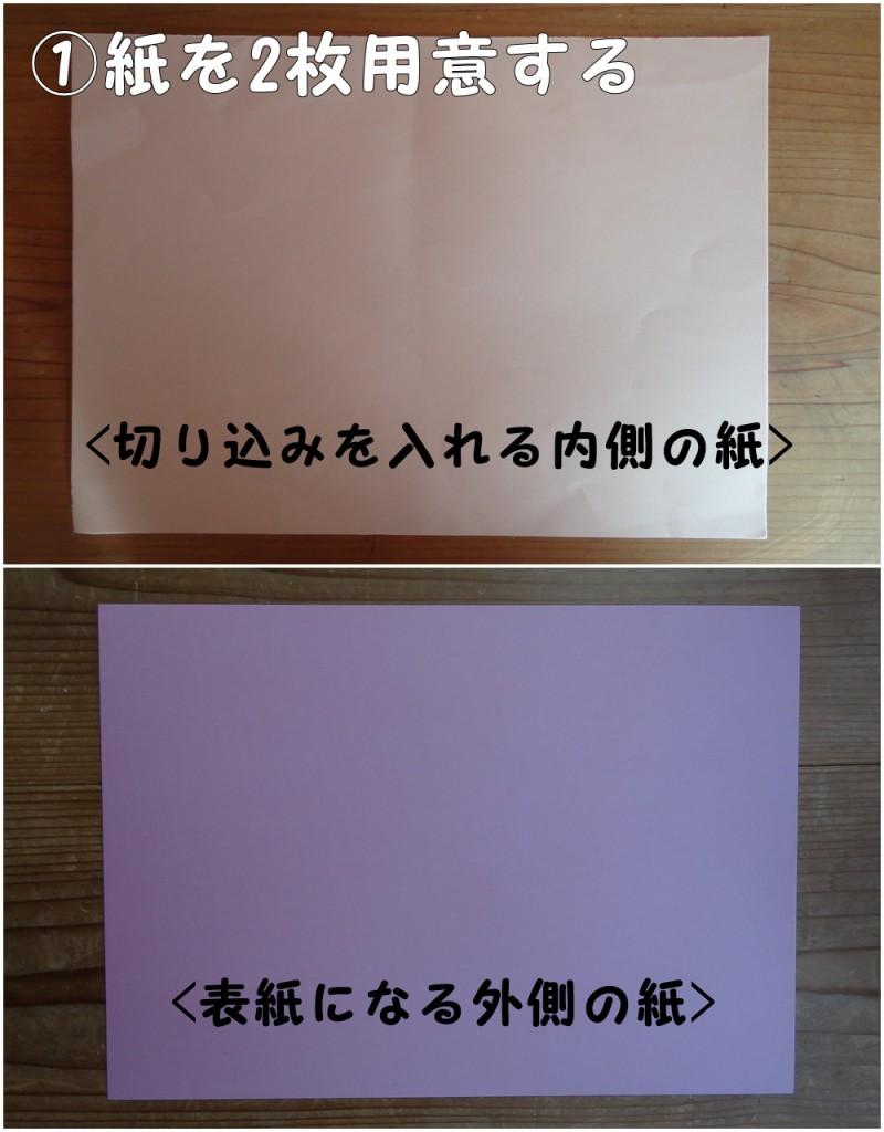①紙を2枚用意する(切り込みを入れる内側の紙と表紙になる外側の紙)