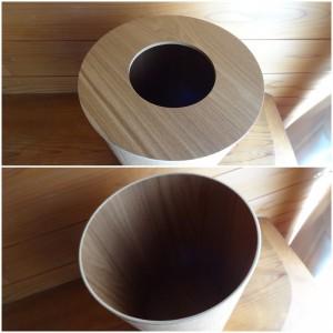 「タモ材ごみ箱・ふた付」のアップ