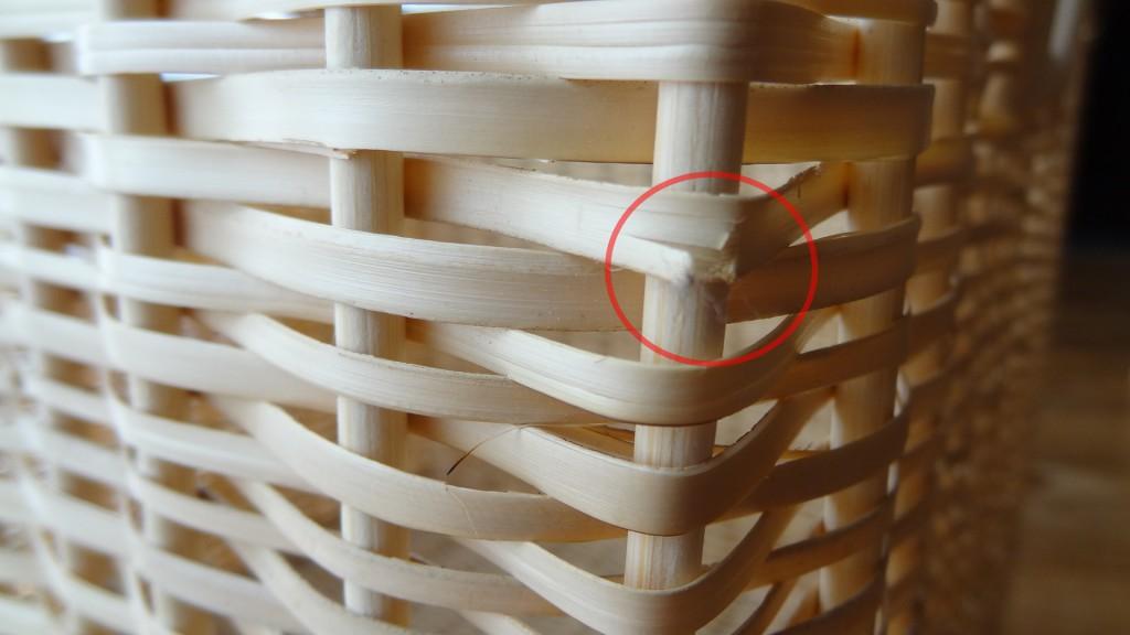 編み目のほころびがあるところ