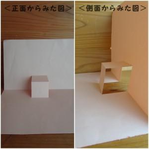 折り曲げた状態(正面からみた図,側面からみた図)