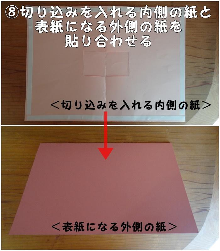 ⑧切り込みを入れる内側の紙と表紙になる外側の紙を貼り合わせる