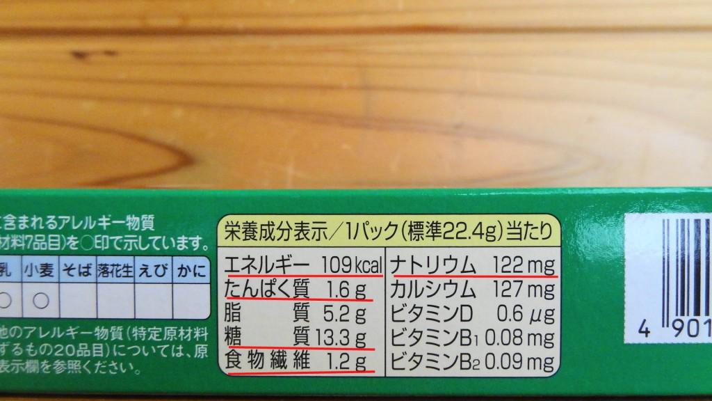 従来の「ビスコ」の栄養成分表示