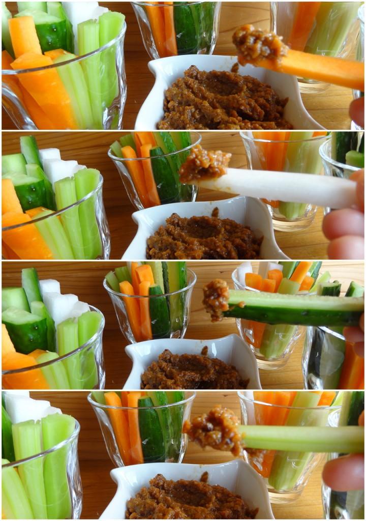 野菜にディップをつけてみた状態(上からにんじん,赤大根,きゅうり,セロリ)