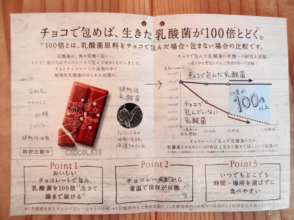 「乳酸菌ショコラ」の説明用紙(2)