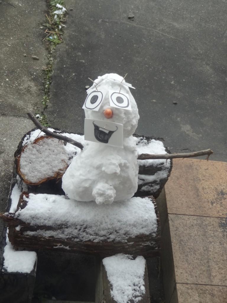 薪の上に移動させた雪だるまオラフ