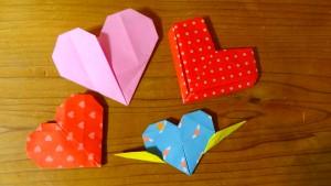 4種類の折り紙のハート