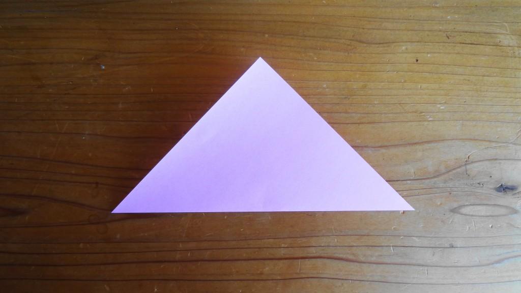 <簡単なハートの折り方>1,(2)