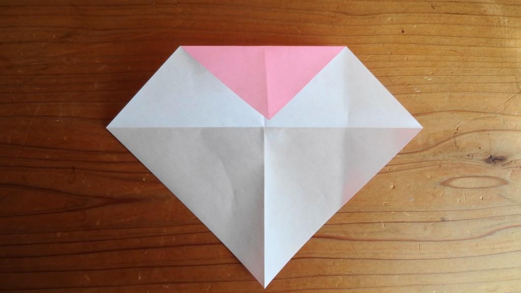 <簡単なハートの折り方>2,(2)