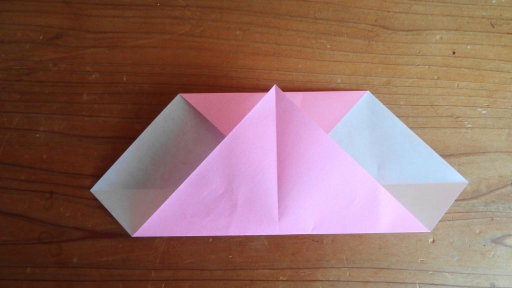 <簡単なハートの折り方>3,(2)