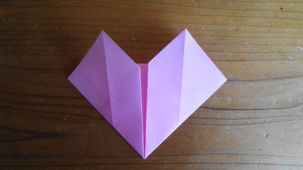 <簡単なハートの折り方>4,(3)