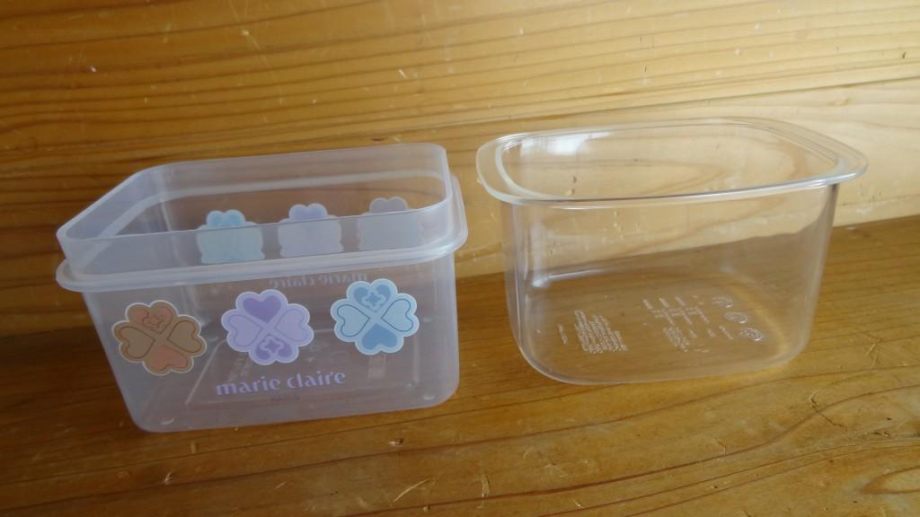 自宅にある容器との比較(右:無印良品の容器)(1)