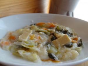 高野豆腐とチンゲンサイの中華風クリーム煮