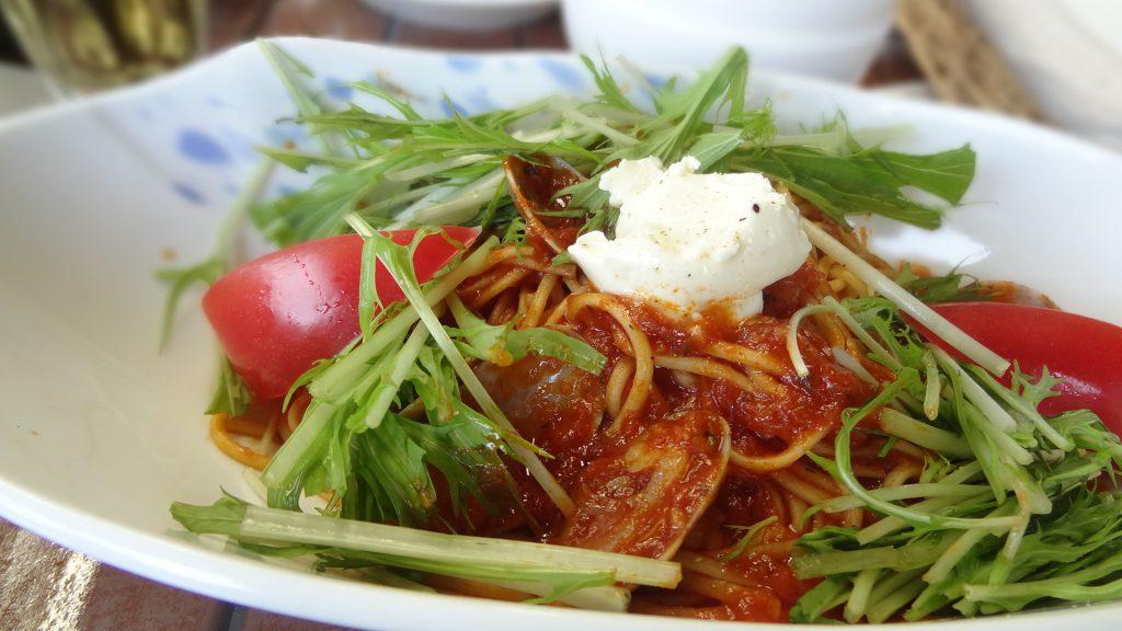 カフェ忠左衛門(7)クリームチーズとあさりのまろやかトマトソースパスタ